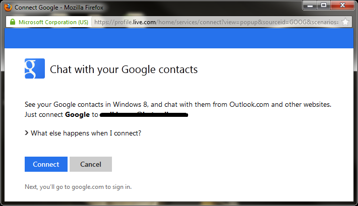 Google contacts in Outlook.com